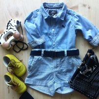 Chemise H&M, Short VINTAGE, Chaussures BOTOU, Foulard OLD
