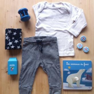T-shirt AMERICAN APPAREL, Legging H&M, Livre LES ANIMAUX DU FROID (espèces à protéger), Jouet en bois HEMA